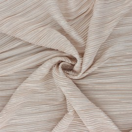 Lurex Pleated polyester fabric - beige Harmonie x 10cm