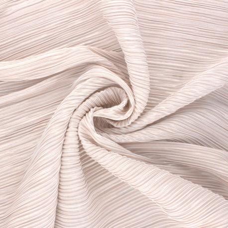 Tissu polyester plissé Lurex Harmonie - Rose pâle x 10cm