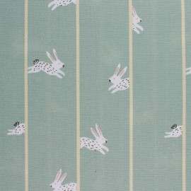 Rico Design canvas cotton fabric - green Rabbit x 10cm