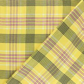 Patterned Viscose fabric - yellow Victoria x 10cm