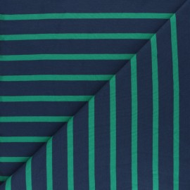 Tissu Sweat léger rayé Cabourg - vert x 10cm