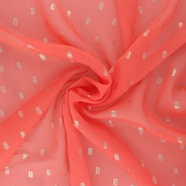 Lurex dotted Muslin fabric - coral pink Happy x 50cm