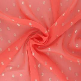 Tissu Mousseline lurex Happy - corail x 50cm