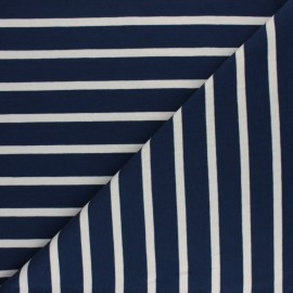 Striped French terry fabric - raw Cabourg x 10cm