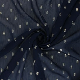 Lurex dotted Muslin fabric - navy blue Happy x 50cm