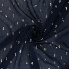 Tissu Mousseline lurex Happy - Bleu marine x 50cm