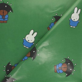 Coated cotton fabric - green Miffy x 10cm