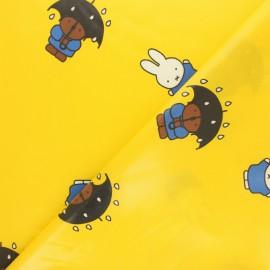 Tissu coton enduit Miffy - jaune x 10cm