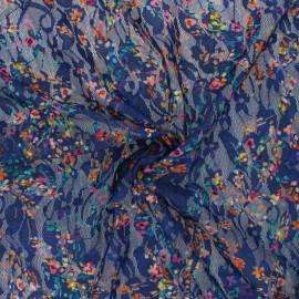 Tissu Dentelle élasthanne fleuri Janice - bleu x 10cm