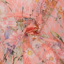 Tissu Dentelle élasthanne fleuri Denise - rose x 10cm