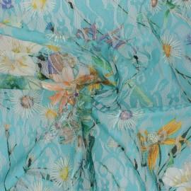 Tissu Dentelle élasthanne fleuri Denise - aqua x 10cm