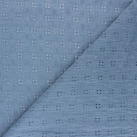 Embroidered Double gauze Cotton fabric - dusty blue x 10cm