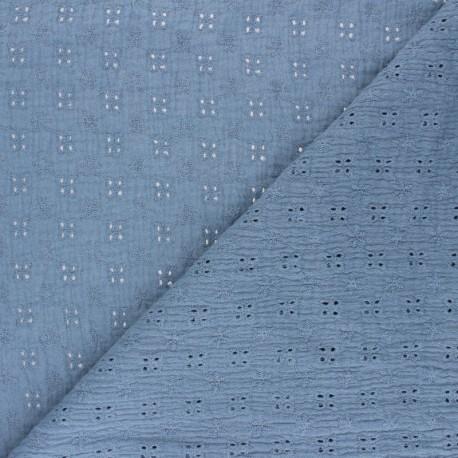 Tissu double gaze de coton brodé Elise - bleuet x 10cm
