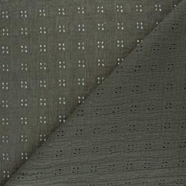 Tissu double gaze de coton brodé Elise - vert kaki x 10cm