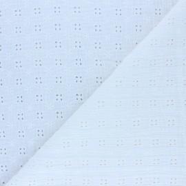 Tissu double gaze de coton brodé Elise - écru x 10cm