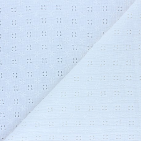 Embroidered Double gauze Cotton fabric - raw x 10cm