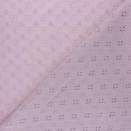 Tissu double gaze de coton brodé Elise - Vieux rose x 10cm