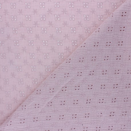 Embroidered Double gauze Cotton fabric - old pink x 10cm