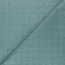Embroidered Double gauze Cotton fabric - eucalyptus x 10cm