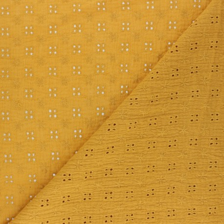 Embroidered Double gauze Cotton fabric - mustard yellow x 10cm