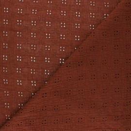 Embroidered Double gauze Cotton fabric - red brick x 10cm