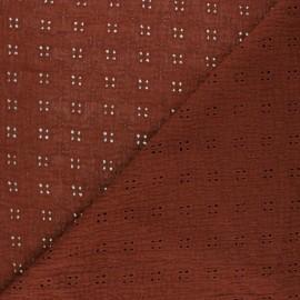 Tissu double gaze de coton brodé Elise - tomette x 10cm