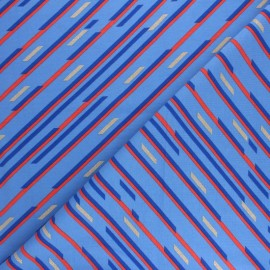 Printed Jersey fabric - blue Geometric stripes x 10cm