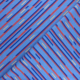 Tissu jersey Geometric stripes - Bleu x 10cm