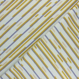 Printed Jersey fabric - green mint Geometric stripes x 10cm
