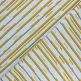 Tissu jersey Geometric stripes - Vert mint x 10cm