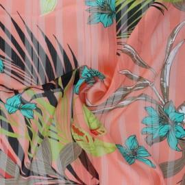 Tissu Mousseline lurex Amanda - corail x 50cm
