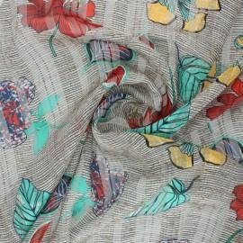 ♥ Coupon 200 cm X 150 cm ♥ Mousseline lurex Zanzibar - beige