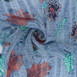 Lurex Muslin fabric - blue Zanzibar x 50cm