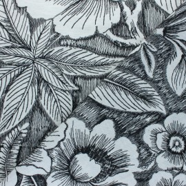 Tissu toile brodé lin Black jungle - Naturel x 50cm