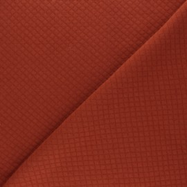 Mini Diamond Quilted jersey fabric - Rust x 10cm