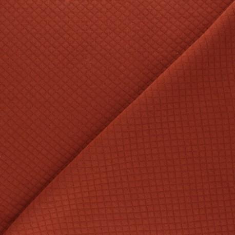 Mini Diamond Quilted jersey fabric - Rust x 10cm