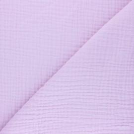 Tissu triple gaze de coton uni Sorbet - lilas x 10cm