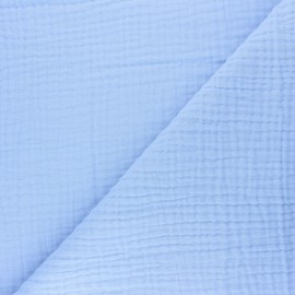 Tissu triple gaze de coton uni Sorbet - bleu tendre x 10cm