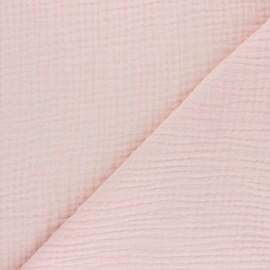 Tissu triple gaze de coton uni Sorbet - pêche x 10cm