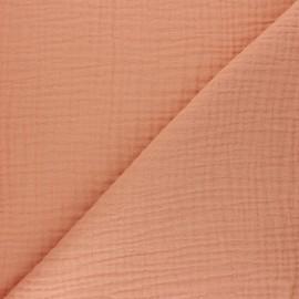 Tissu triple gaze de coton uni Sorbet - pêche melba x 10cm