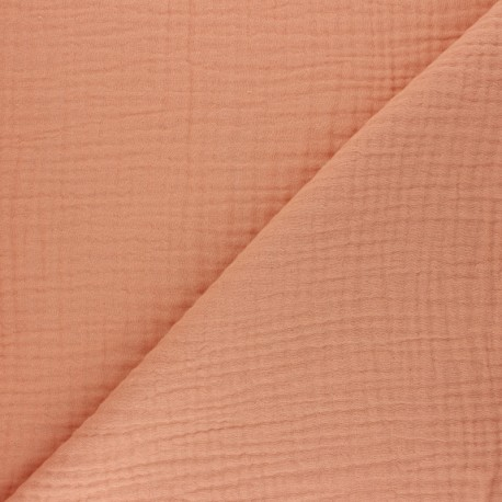 Plain Triple gauze fabric - melba peach Sorbet x 10cm