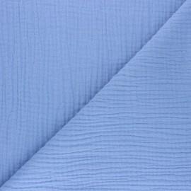 Tissu triple gaze de coton uni Sorbet - bleuet x 10cm