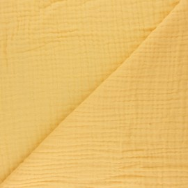 Tissu triple gaze de coton uni Sorbet - citron x 10cm
