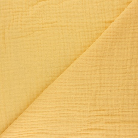 Plain Triple gauze fabric - lemon Sorbet x 10cm