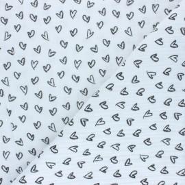 Patterned Double gauze fabric - white Joli coeur x 10cm
