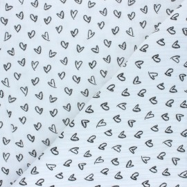 Tissu double gaze de coton Joli coeur - blanc x 10cm