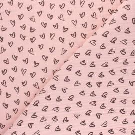 Patterned Double gauze fabric - pink Joli coeur x 10cm