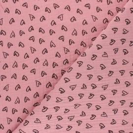 Tissu double gaze de coton Joli coeur - rose pétale x 10cm