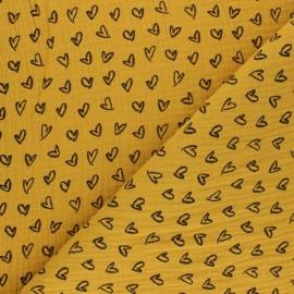 Patterned Double gauze fabric - mustard yellow Joli coeur x 10cm