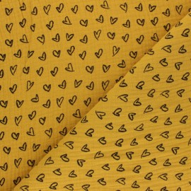 Tissu double gaze de coton Joli coeur - jaune moutarde x 10cm